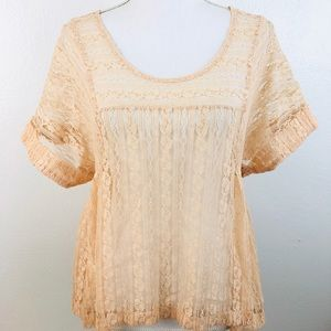 Free People lace top boho soft peach XS